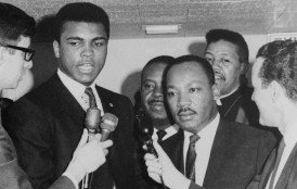 Heavyweight champion Muhammad Ali, left, is shown conferring March 29, 1967 with Dr. Martin Luther King, and King said later,  the sooner this country does away with the draft, the better off we'll be.   Ali was here for his court suit to prevent his Army induction April 28 in Houston.  The court refused, however, to block his call-up.  (AP Photo)