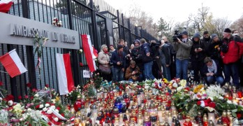 Flowers in front of the French Embassy in Warsaw after the November 2015 Paris attacks (Source Wikipedia)