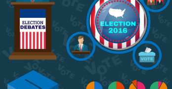 Vote - Be Responsible Presentation. Presidential Debates Icons suited for Elections Infographics Banner or Flyer. Digital Vector Illustrations in Flat Style. Infographics Colorful Elements.