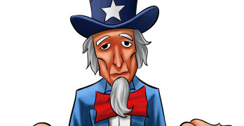 Uncle sam painted he looks not so happy