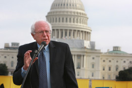 Sen. Bernie Sanders (I-VT) speaking at a protest on Capitol Hill, Jan. 24, 2012, Washington DC © Rick Reinhard