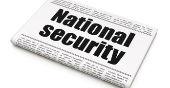 Security concept: newspaper headline National Security on White background, 3D rendering