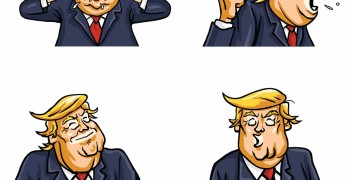 Donald Trump Face Expressions Set Pack Vector Illustration