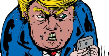 Jan. 9 2017. Caricature of furious Donald Trump texting on his phone