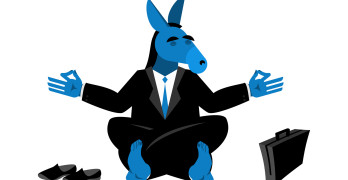 Blue Donkey Democrat meditating. Symbol of USA political parties. Illustration for presidential elections in America. Animal businessman diplomat