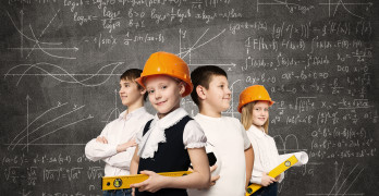 Children of school age trying different professions