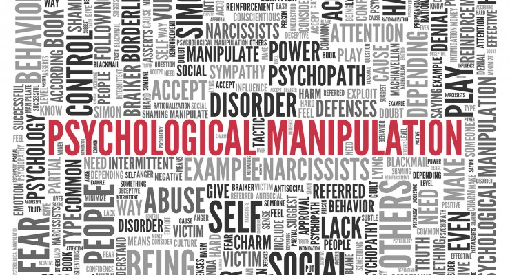 Close up Red PSYCHOLOGICAL MANIPULATION Text at the Center of Wo