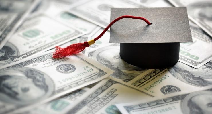Graduation mortar board cap on one hundred dollar bills concept