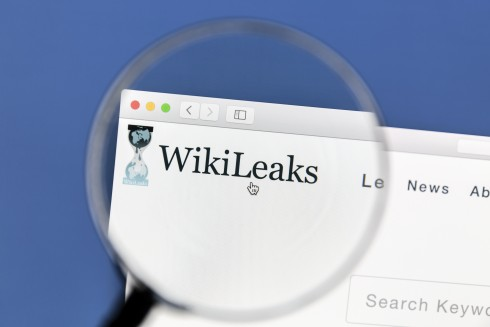 Ostersund, Sweden - January 14, 2017 Closeup of WikiLeaks websit