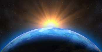 Sunrise Over The Earth. Imaginary View Of Planet Earth In Outer
