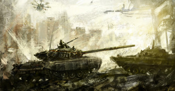War, battle tank. Digital art. The digital image is drawn in the digital editor, using the author's brushes.