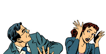 Man and woman escape the panic fear retro style pop art