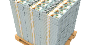 Stack of Money with Wooden Pallet