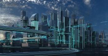 Futuristic city 3D rendering
