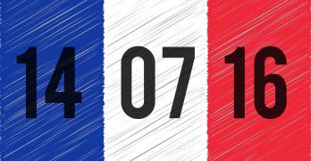 France national flag. 14 June 2016 written on the flag. The day of terrorist attack in Nice France. Tribute to all victims of Nice terrorist attack. World mourns for France. Vector illustration.